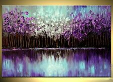 Handmade Palette Knife Artwork Abstract Wall Art Purple Oil Painting on Canvas
