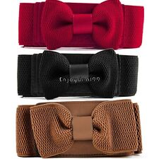 Hot Women Girls Graceful Bowknot Elastic Lovely Belt With Buckle Waistband OO55