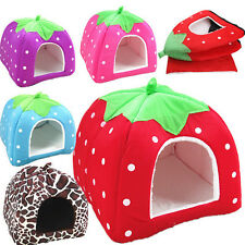 Soft Puppy Strawberry Kennel Doggy Cushion Basket Pet Dog Cat Warm Bed House Pad