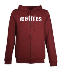 Etnies Corporate Zip Pullover Burgundy/White Hoodie Pullover Size S-XL