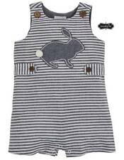 Mud Pie Easter Bunny Chambray Striped Shortall  0-3 Months