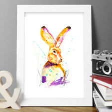HARE BUNNY RABBIT ORIGINAL WATERCOLOUR PRINT FLOWERS POP ART BIRDS FLORAL
