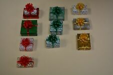 Random Lot of 10 Miniature Christmas Presents/Gifts. Various size/shape/color