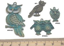 Owls Antique Bronze Verdigris Patina Alloy Charms Vintage Mixed Media