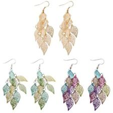 Drop Dangle Leaf Design Long Hook Earring Women Girl Jewelry Gifts