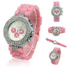 Geneva Fashion Crystal Dial Jelly Silicone Band Quartz Women Ladies Wrist Watch