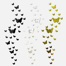 25x 3D Butterfly Mirror Wall Sticker Removable Adhesive Decal Mural Acrylic E1X4