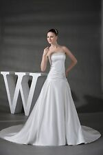 Strapless A-line Satin Beading White/Ivory Bridal Wedding Dress Custom All Size