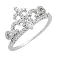 925 Sterling Silver CZ Micropave Fleur De Lis Princess Crown Ring