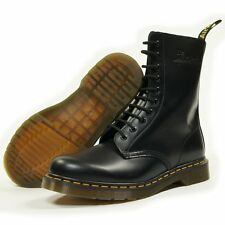 Dr Martens 10 Eyelet 1490 Boot Black with Yellow Contrast Stitching