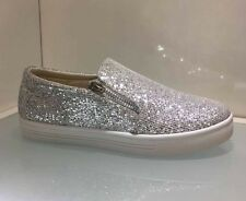 LADIES WOMENS SILVER WHITE GLITTER TRAINERS LOAFERS PUMPS SNEAKERS SHOES FLAT