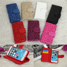 Real Leather Wallet Card holder cover Flip Case for Apple iPhone 5 5s 6 6S Plus