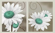 Daisy Left and Right - Aqua Home Decor Picture Wall Art Floral Bedroom-Living