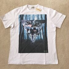 DIESEL T-UZURI White Mens T-Shirt Wolf and Wood Graphic Short Sleeve L XL 2XL