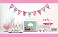 Mod Super Hero Girl Birthday Party Table Decor Kit Place Cards Stickers Signs