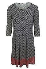 Max Studio Black White Red Floral Border Print Pleated Jersey Dress $128 NWT