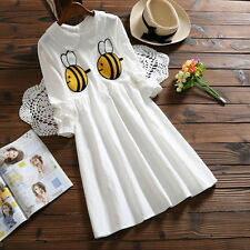 Japanese Mori Girl Sweet Lolita Preppy Style White Dress Cute Bee printing