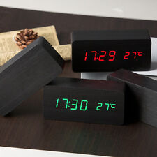Digital LED Alarm Clock Sound Control Wooden Desktop Clock Temperature Display
