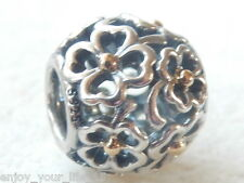 AUTHENTIC PANDORA SILVER & 14ct,GOLD EVENING FLORAL BEAD CHARM - 791373