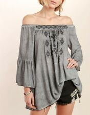 POL Gray Cotton Tribal Embroidered Off Shoulder Gypsy Tunic Top
