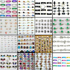 100Pcs Vintage Tibet Flower Silver Rings Wholesale Mixed Lots Costume Jewelry