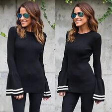 Fashion Women Lady Slim Fitted Flare Sleeve T-shirt Casual Blouse Tops Outwear
