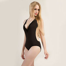 Sexy Halter Lace Deep V-Neck One-Piece Backless Bathing Suit Swimwear Popular