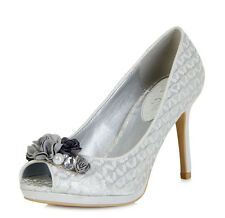 Ruby Shoo NEW Sonia silver grey high heel peep toe flower court shoes sizes 3-8
