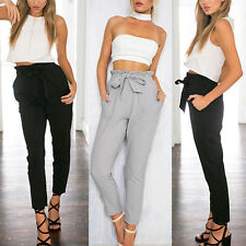 UK Women Casual Chffion Harem Pants Comfy Elastic High Waist OL Pencil Trousers