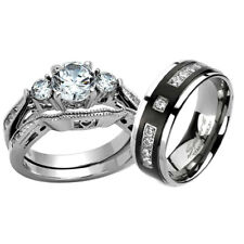 His Hers Wedding Ring Set Three Stone CZ Black Stainless Steel & Titanium dc