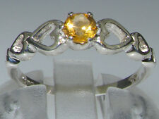 9ct White Gold Natural Citrine Womens Solitaire Ring - Sizes 4 to 12