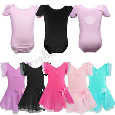 Girls Gymnastics Leotard Dress Kids Ballet Chiffon Tutu Skirt Dancewear Costume