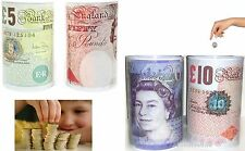 £5, £10, £20, £50 Pound Note Design Kids Children Money Box Tin Saving Cash New