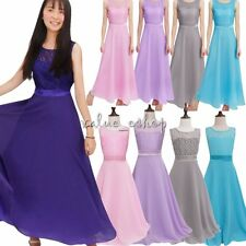 Girls Flower Lace Maxi Long Dress Bridesmaid/Prom/Wedding/Party/Princess/Pageant