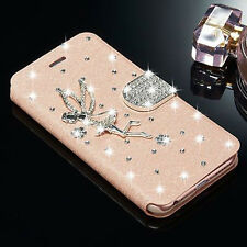 New 3D Angel Bling Diamonds Leather Case Cover For Apple iPhone Samsung Galaxy E