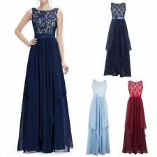 Formal Prom Evening Lace Long Gown Party Ball Cocktail Bridesmaid Chiffon Dress