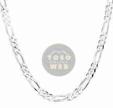 """925 Sterling Silver Figaro Chain 6.8mm w/ Lobster Lock Type Necklace 26"""" to 28"""""""
