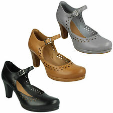 CHORUS CHIME LADIES CLARKS LEATHER BLOCK HEEL BUCKLE MARY JANE SMART COURT SHOES