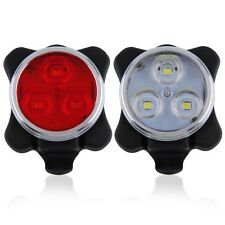 Bicycle Bike 3 LED 4 Modes Head Front Rear Tail Light Lamp USB Rechargeable A^^