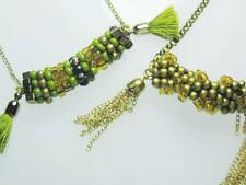Handmade one of a kind beadwoven tassel necklaces Green and gold