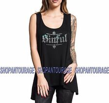 Sinful Angel Wings Stainglass S4036 Women`s New Black Tank Top By Affliction