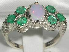 Solid English 925 Sterling Silver Ladies Large Opal & Emerald Art Nouveau Ring