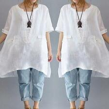 Women Solid Loose Long Blouse Solid O-Neck Short Sleeves Top Shirt Dress S6O7