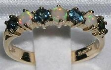 High Quality Solid Yellow 9K Gold Natural Fiery Opal & Sapphire Eternity Ring