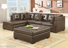 Darie Leather Black Brown sectional sofa couch 3 Pc Living room set #500606