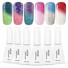 Azure 12ML Temperature Color Glitter Change UV Gel Nail Polish Soak Off Nail Gel
