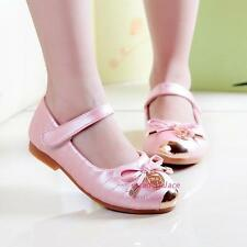 Kids Young Girls Princess Leather Shoes Metal Head Grid Sweet Bow Spring New