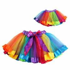 Chic Kids Baby Girls Rainbow Ballet Dance Dress High Waist Tutu Party Pettiskirt
