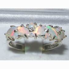 Solid 9K White Gold Womens Natural Fiery Opal Ring