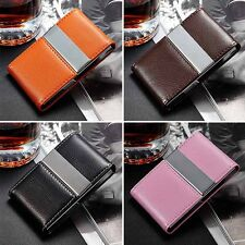 PU Leather Pocket Metal Stainless Business ID Credit Card Holder Case Wallet